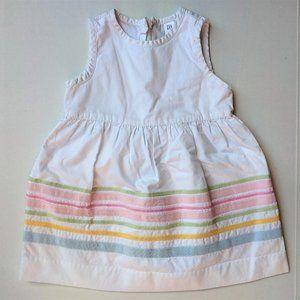 🛒3/$20 Gap White Cotton Pastel Stripe Dress 18-24